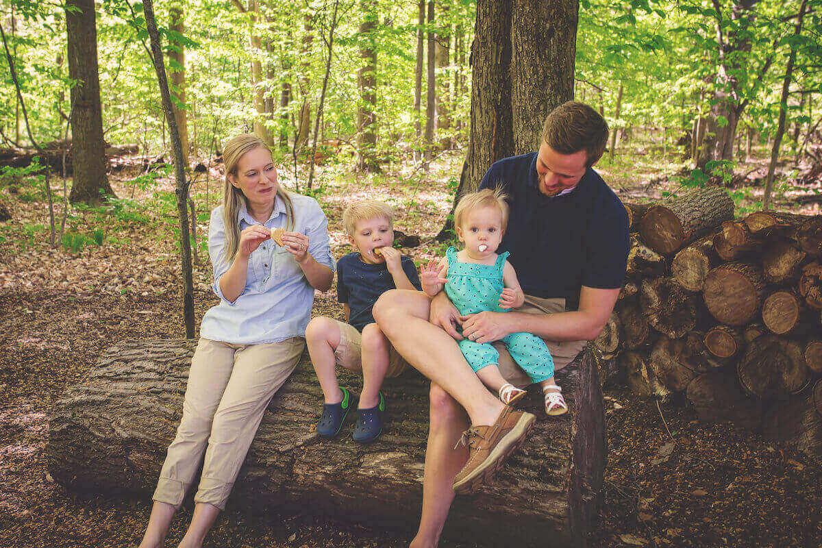 family making smores
