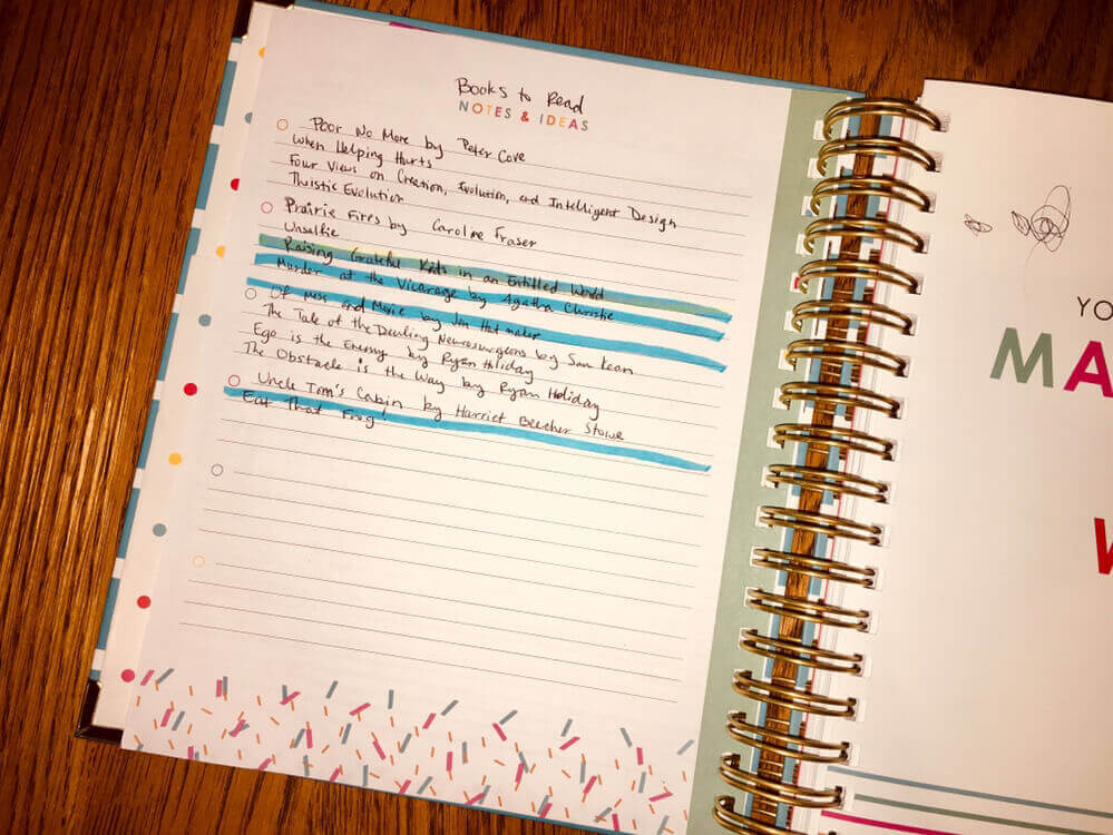 I write my main book bucket list in my planner