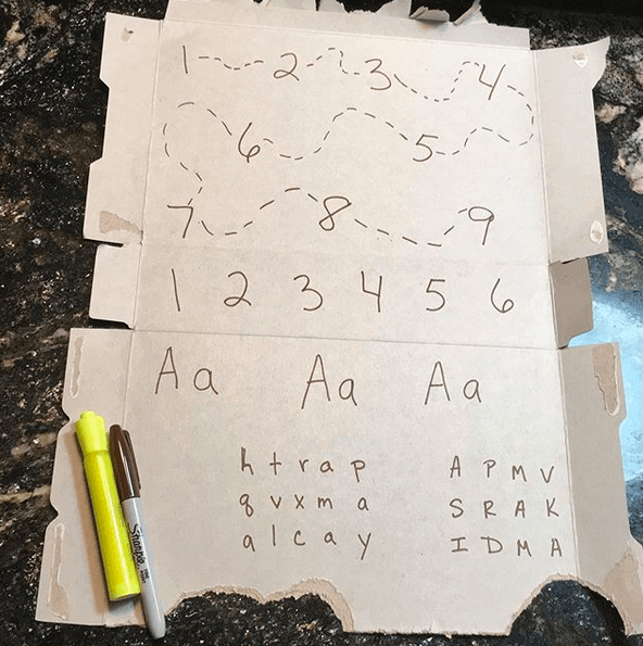 Example of a free letter learning activity to do at home for preschoolers